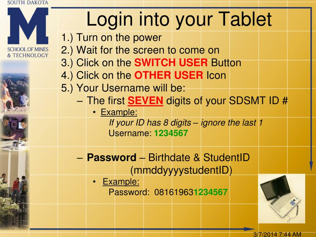 Login into your Tablet