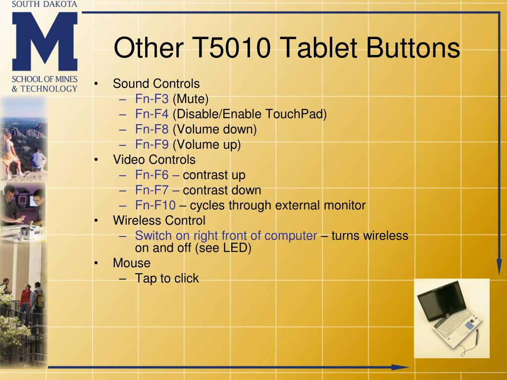 Other T5010 Tablet Buttons