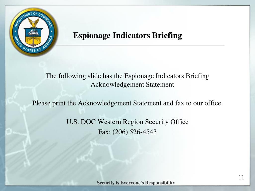 Espionage Indicators Briefing