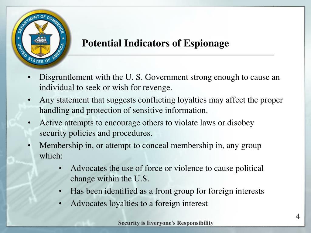 Potential Indicators of Espionage