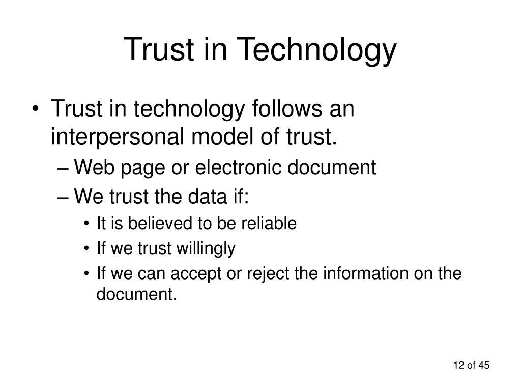 Trust in Technology
