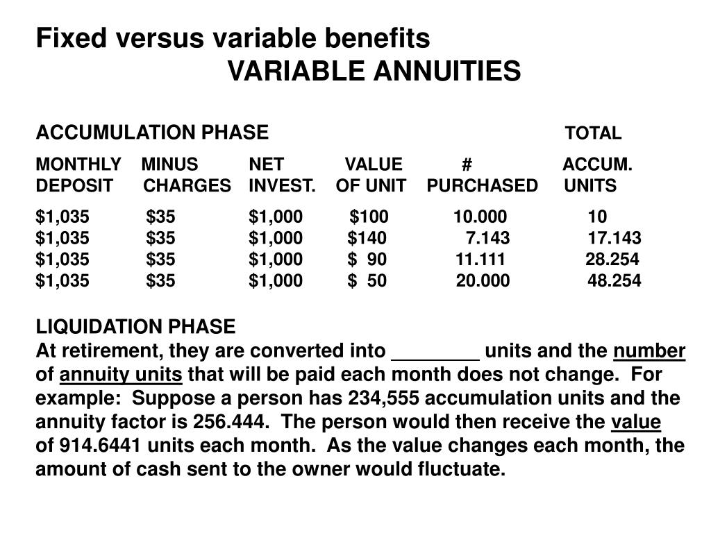 Fixed versus variable benefits