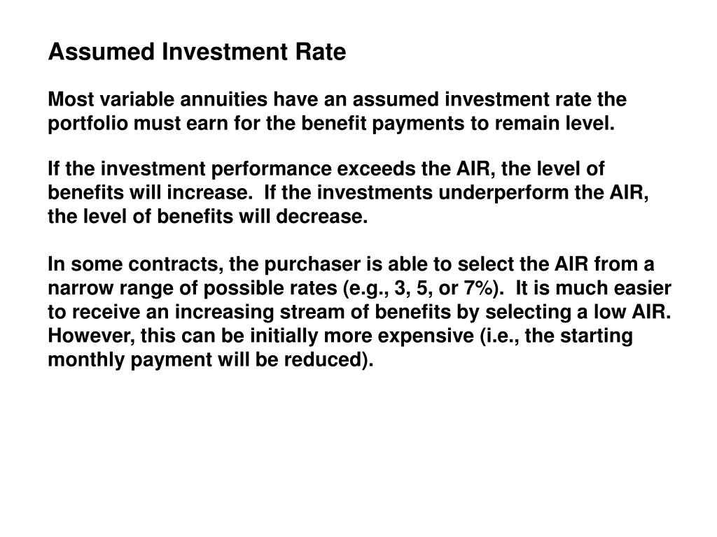 Assumed Investment Rate