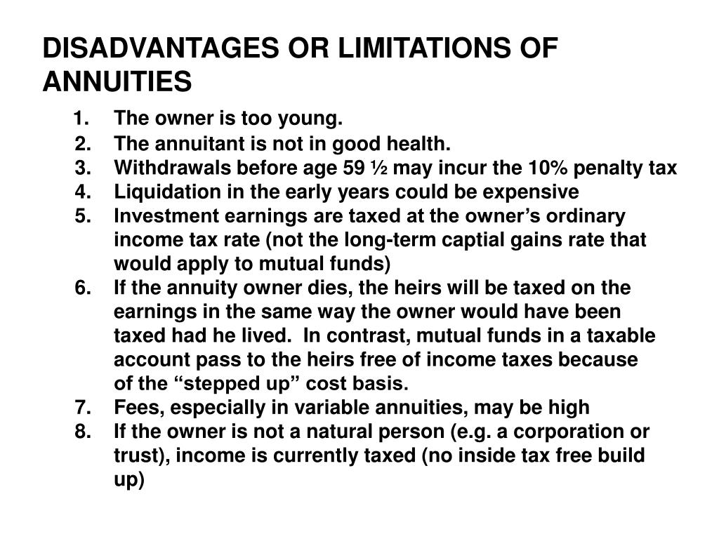 DISADVANTAGES OR LIMITATIONS OF ANNUITIES