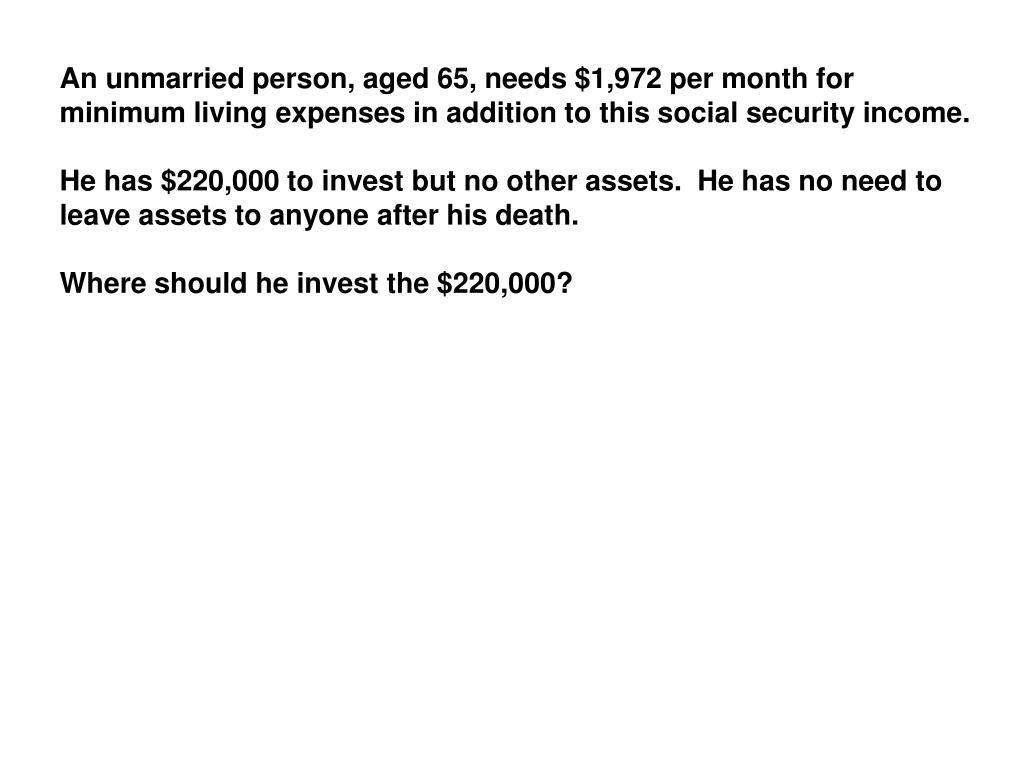An unmarried person, aged 65, needs $1,972 per month for