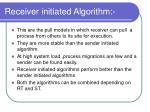 receiver initiated algorithm