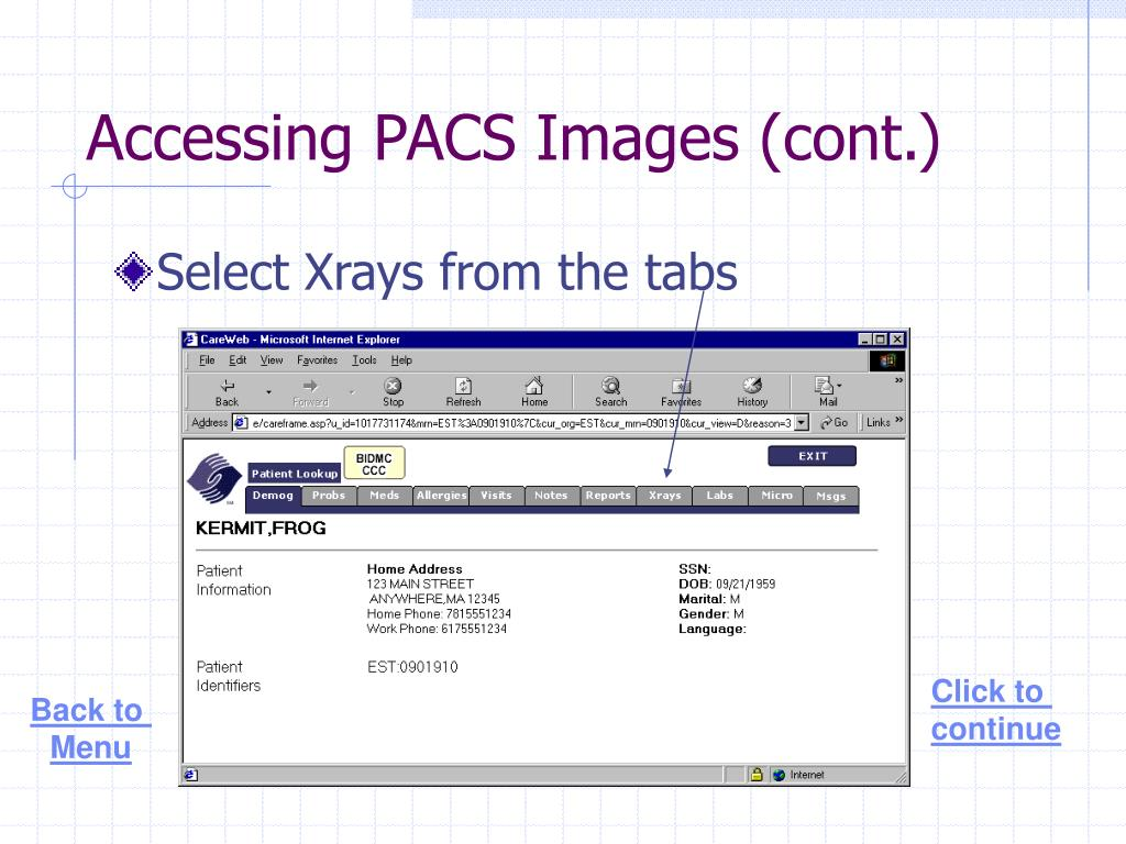 Accessing PACS Images (cont.)
