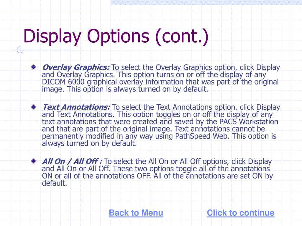Display Options (cont.)