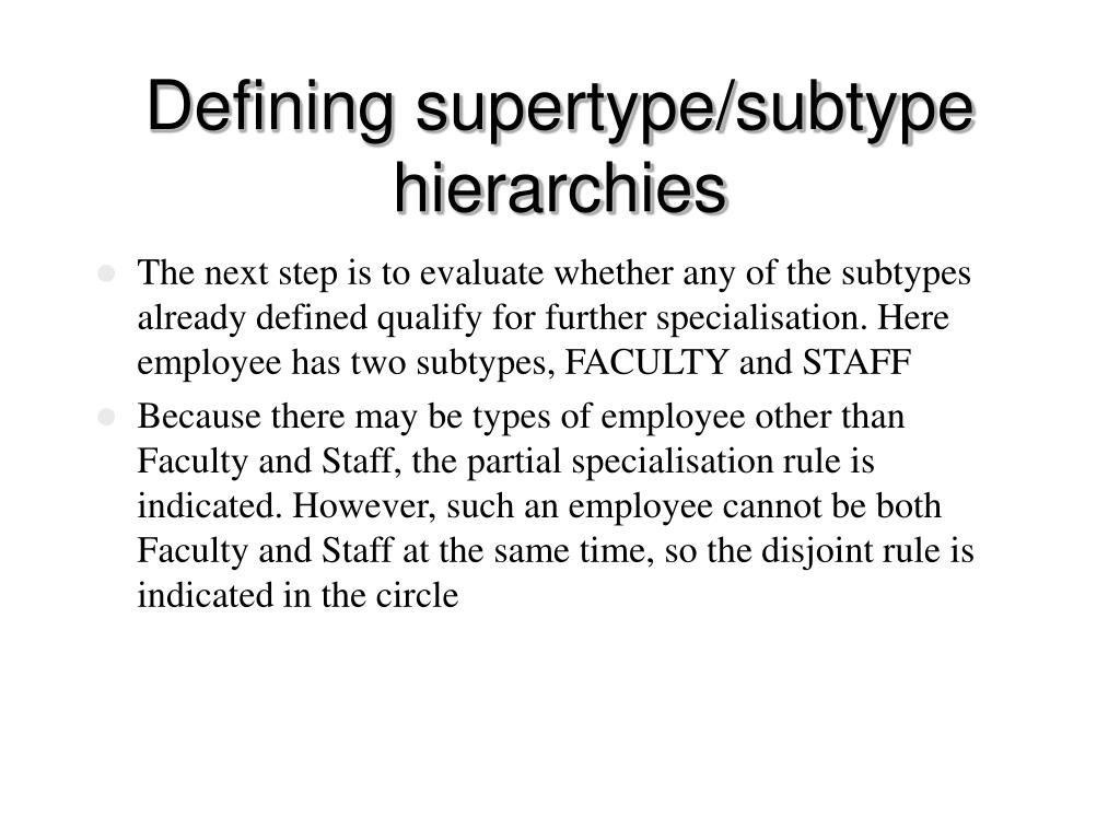 Defining supertype/subtype hierarchies