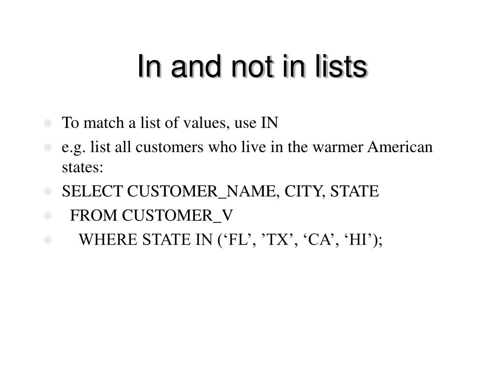In and not in lists