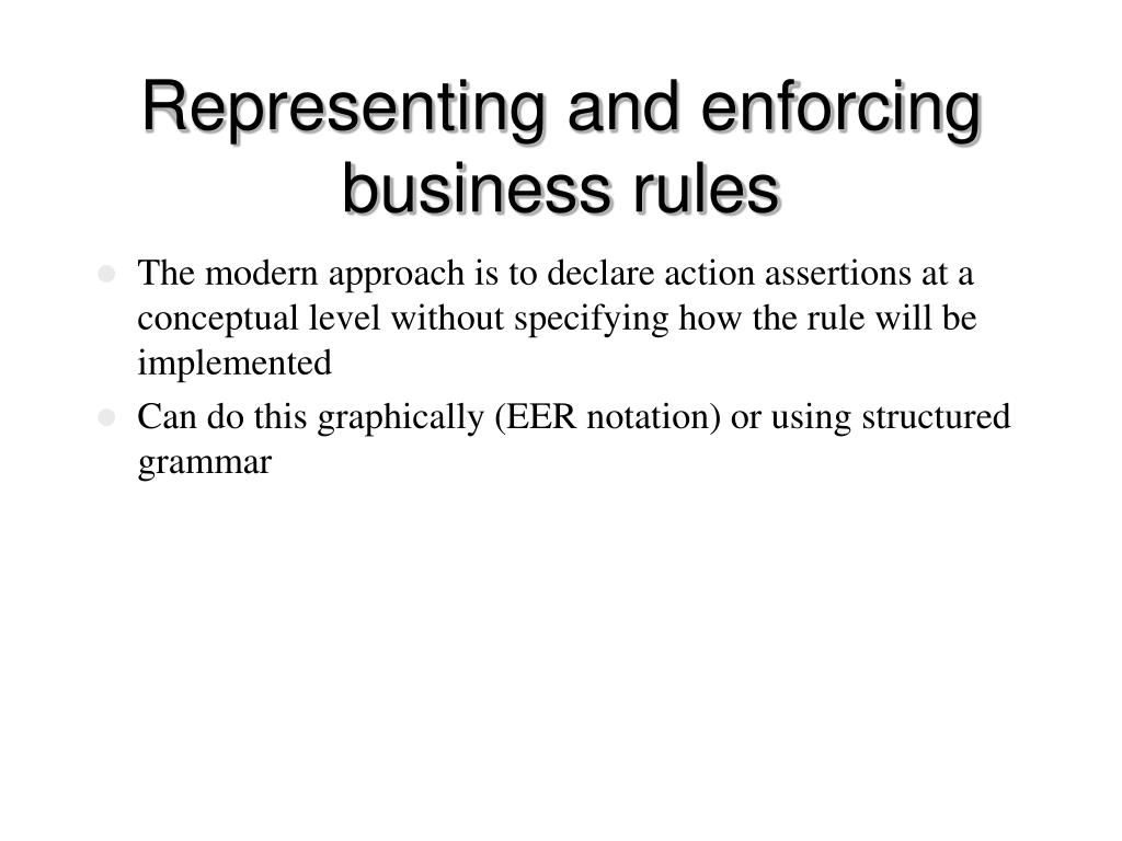 Representing and enforcing business rules