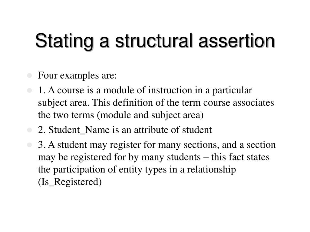 Stating a structural assertion