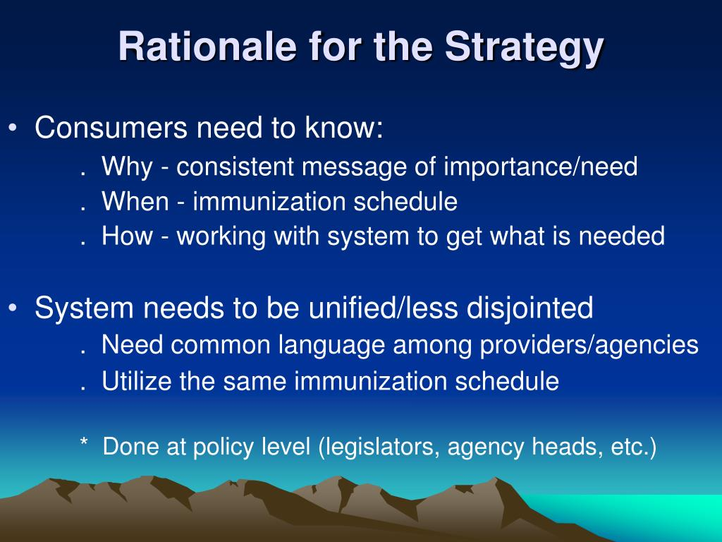 Rationale for the Strategy