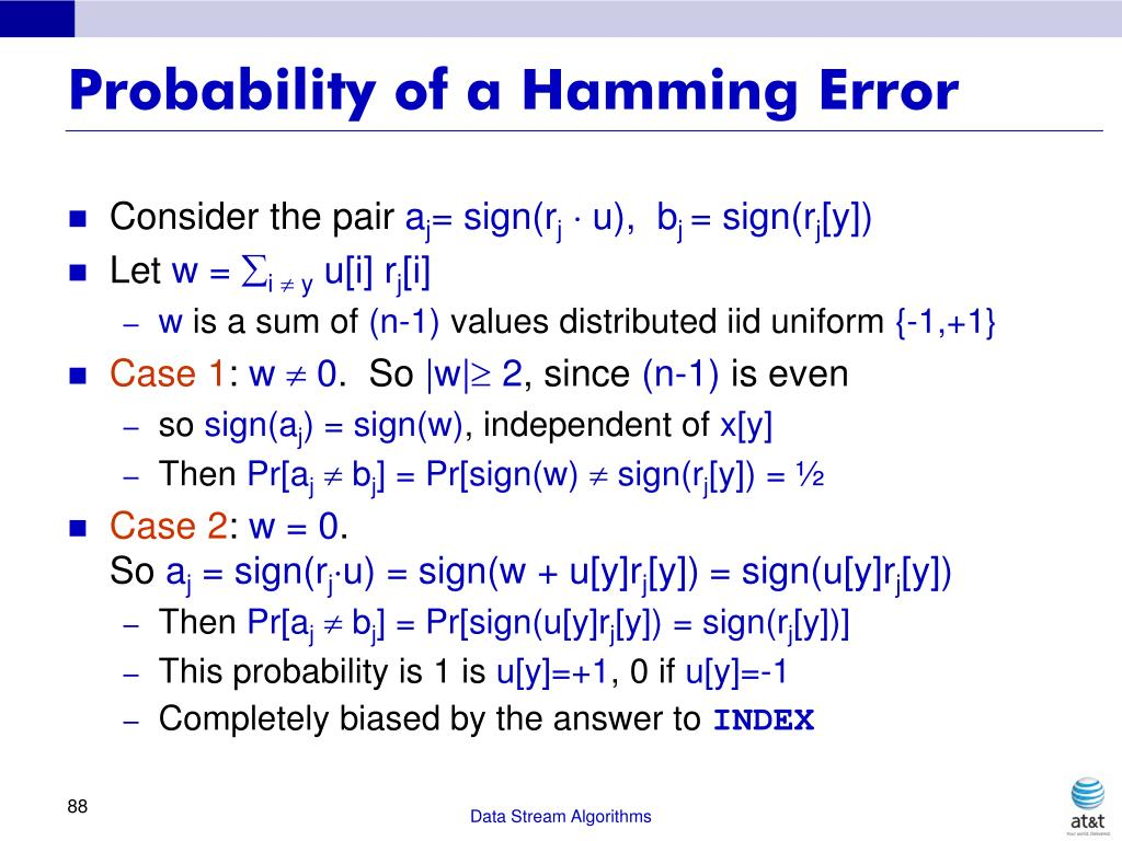 Probability of a Hamming Error
