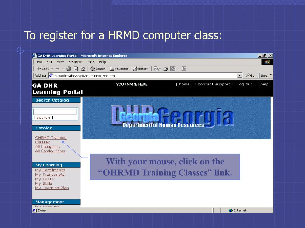 To register for a HRMD computer class: