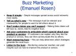 buzz marketing emanuel rosen