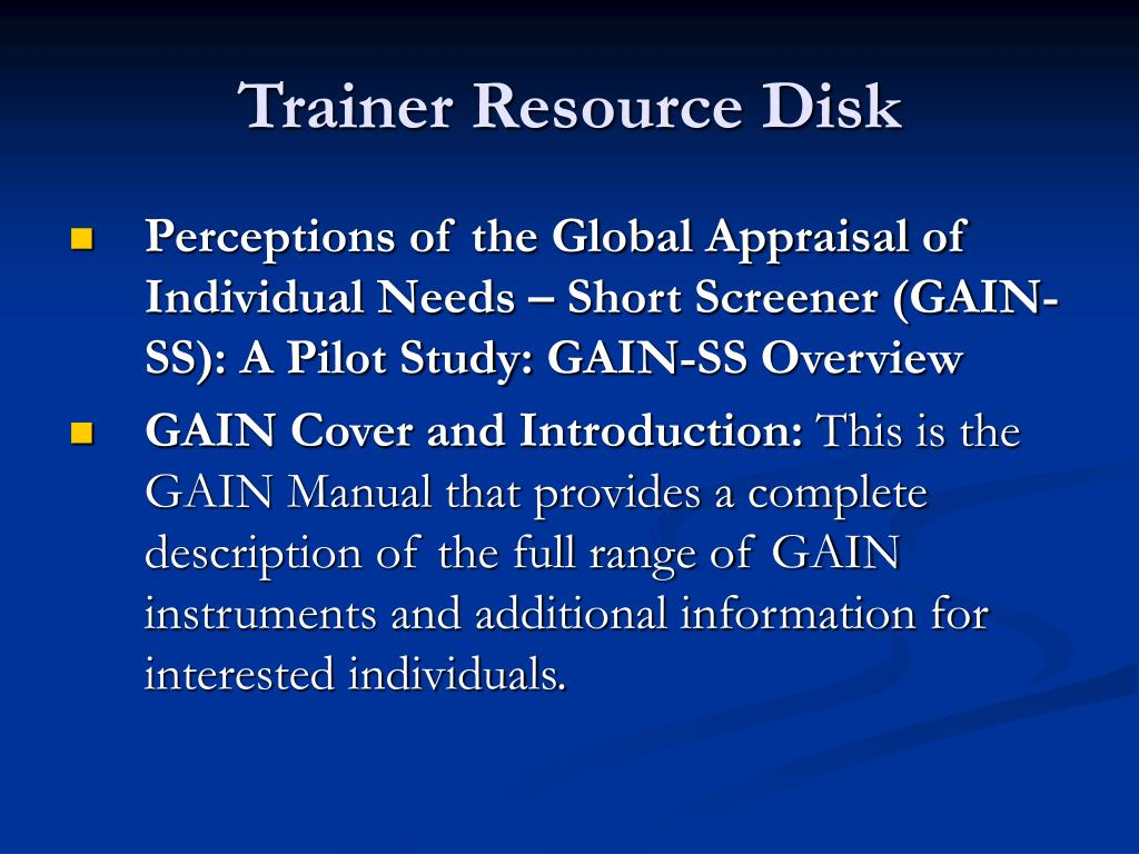 Trainer Resource Disk