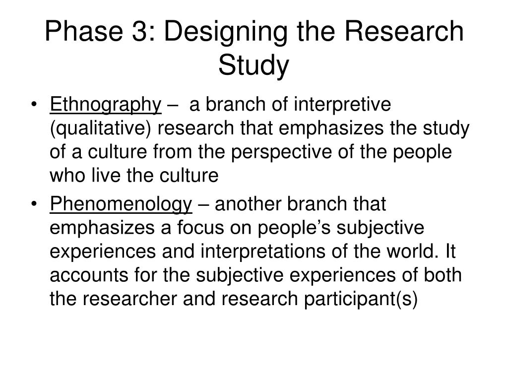 Phase 3: Designing the Research Study