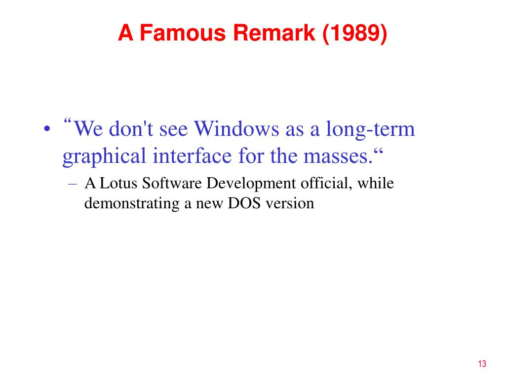 A Famous Remark (1989)