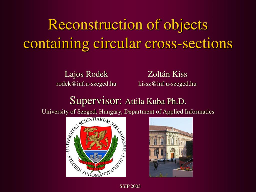 reconstruction of objects containing circular cross sections