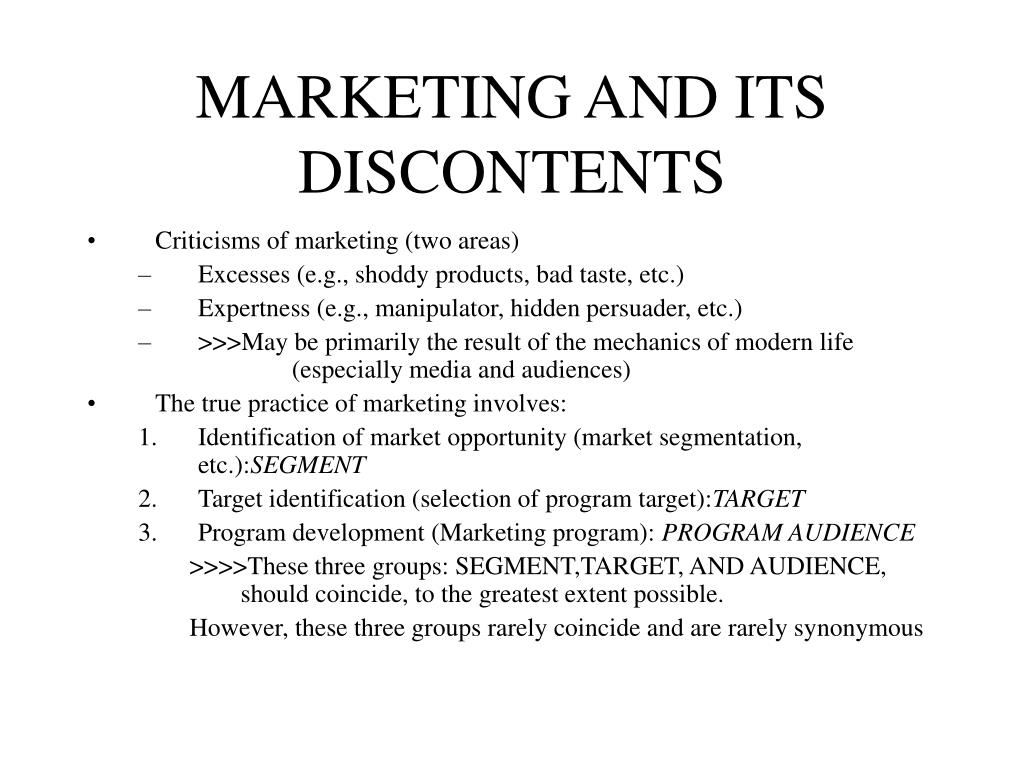 marketing and its discontents l.
