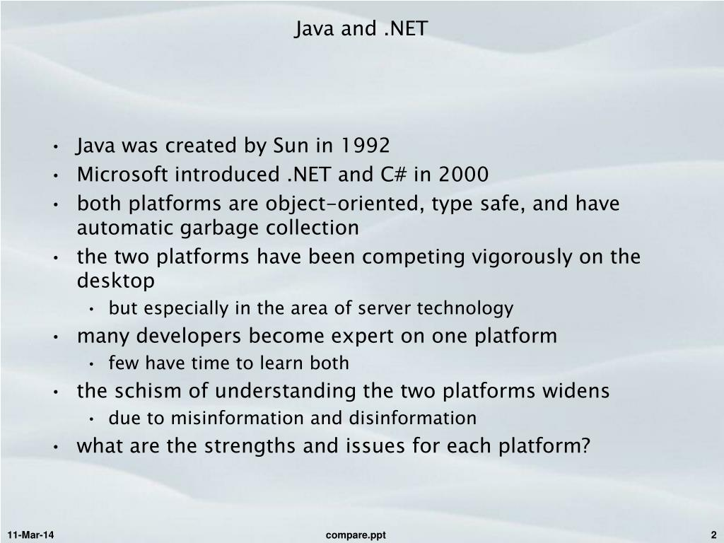 Java and .NET