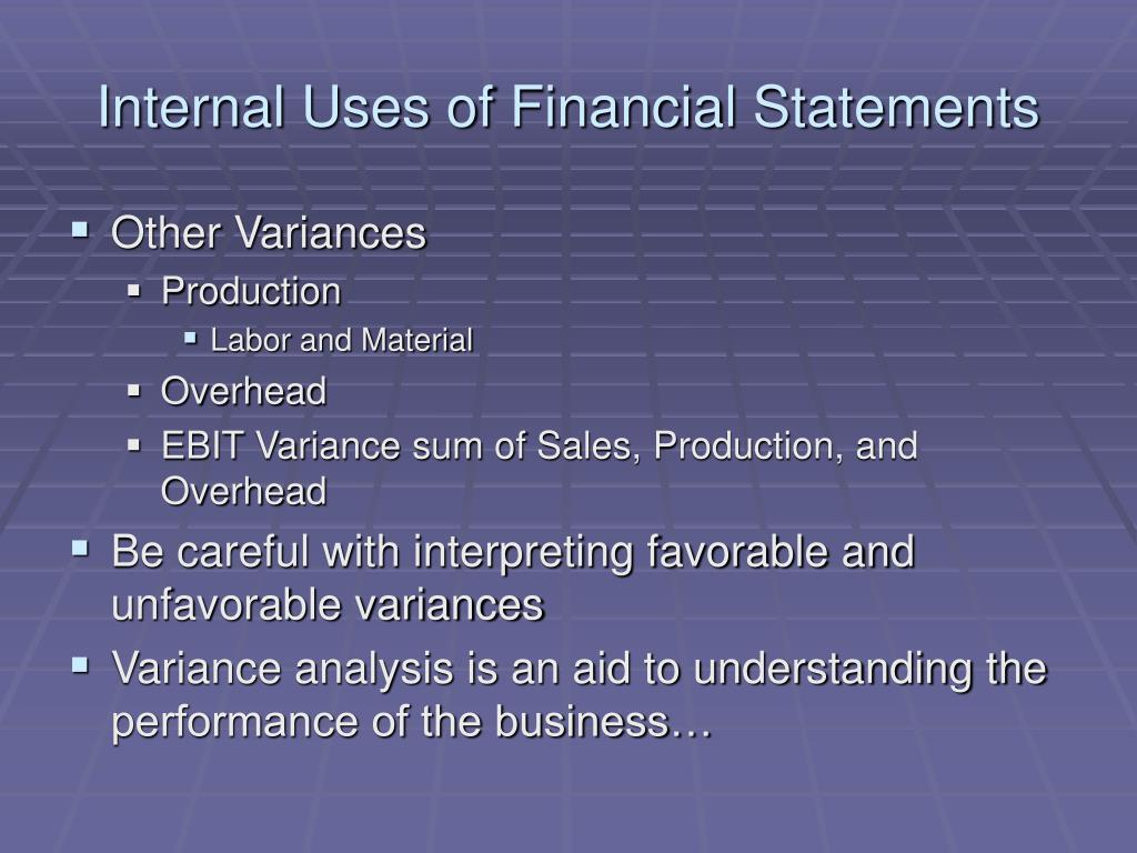 Internal Uses of Financial Statements