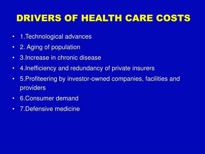 Drivers of health care costs
