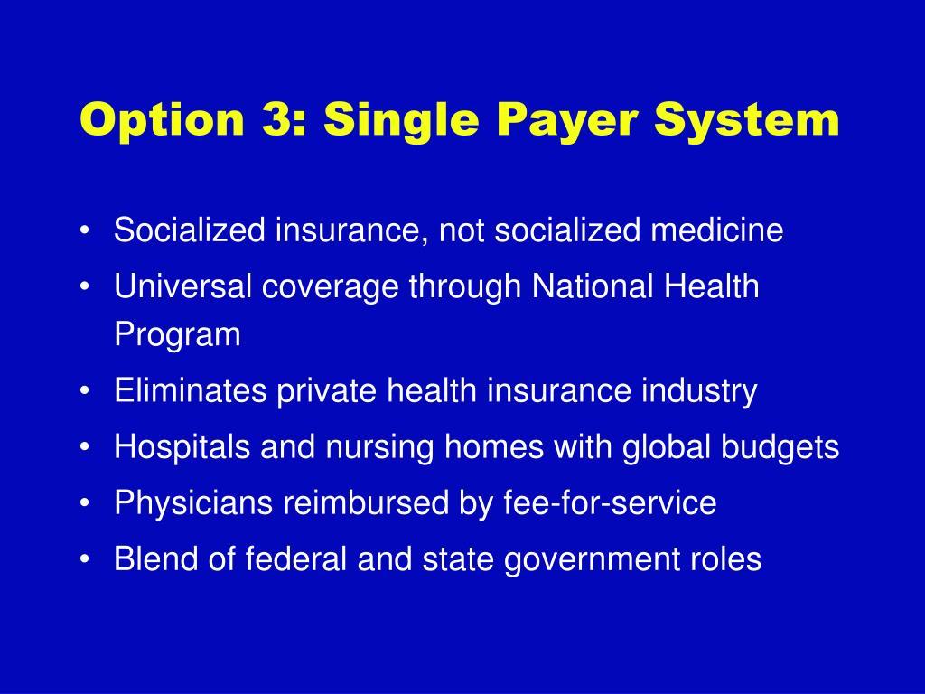 Option 3: Single Payer System