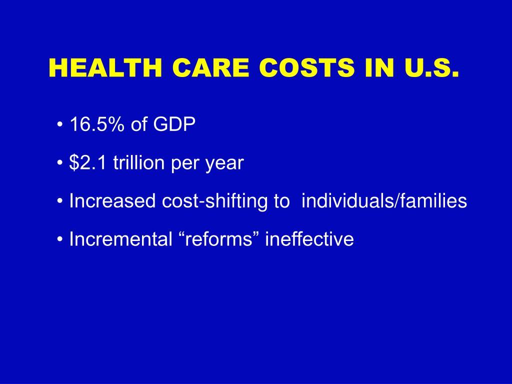 HEALTH CARE COSTS IN U.S.
