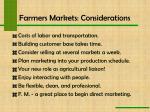 farmers markets considerations