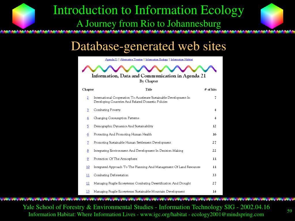 Database-generated web sites