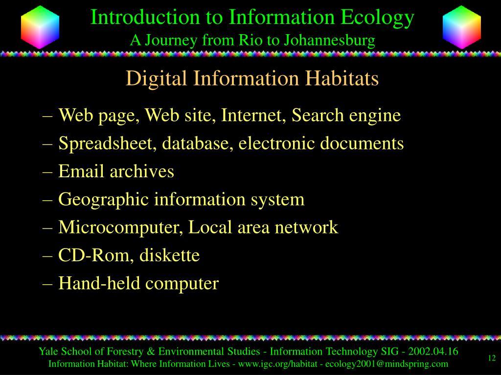 Digital Information Habitats