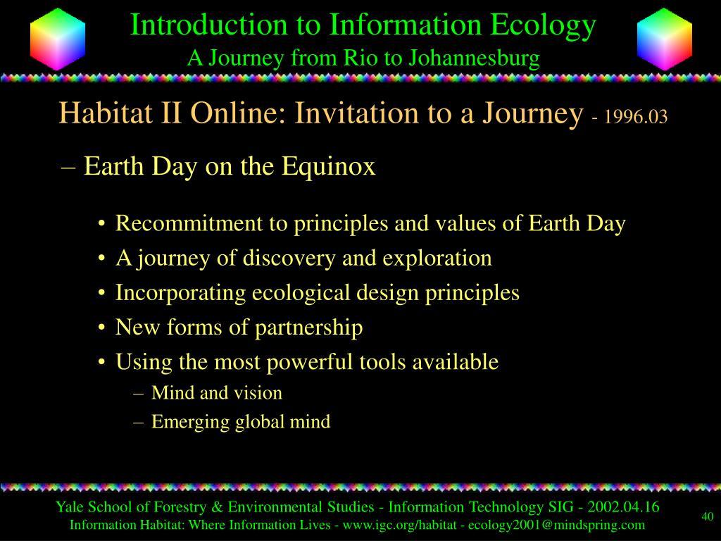 Habitat II Online: Invitation to a Journey
