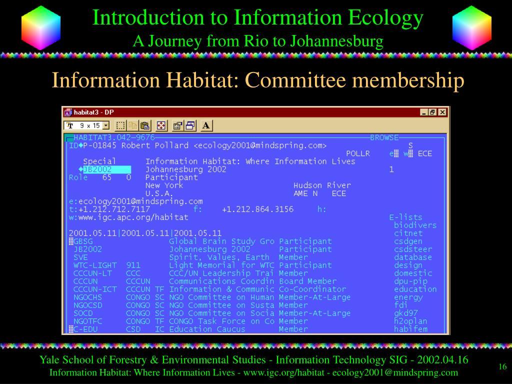 Information Habitat: Committee membership