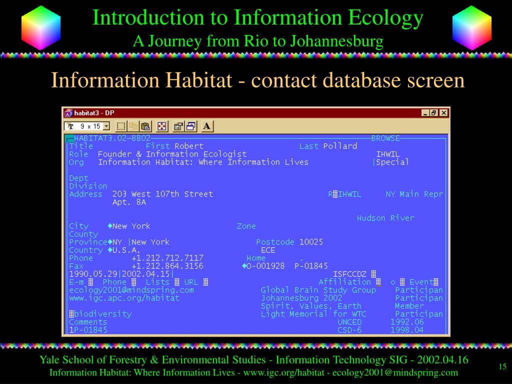 Information Habitat - contact database screen