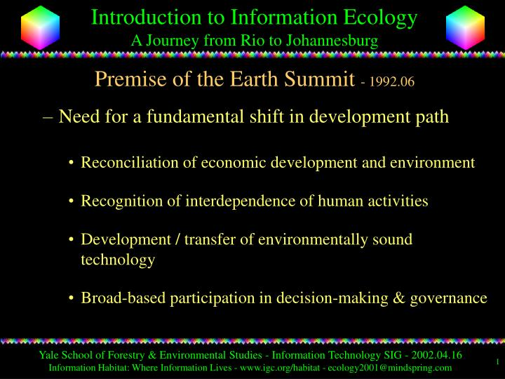 Premise of the earth summit 1992 06