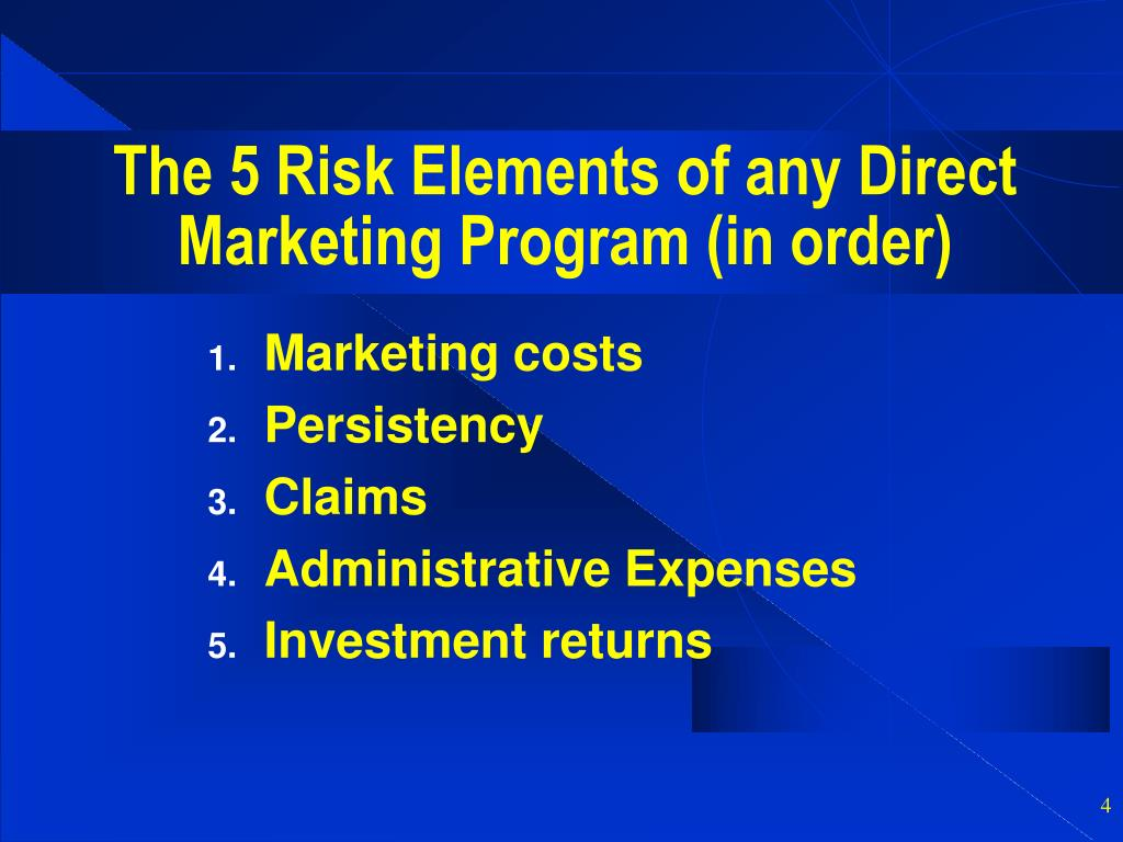 The 5 Risk Elements of any Direct Marketing Program (in order)