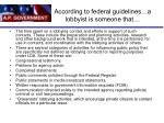 according to federal guidelines a lobbyist is someone that