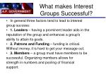 what makes interest groups successful