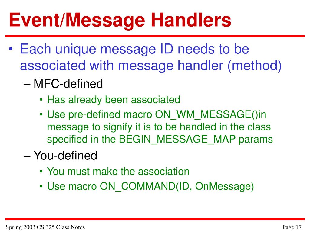 Event/Message Handlers
