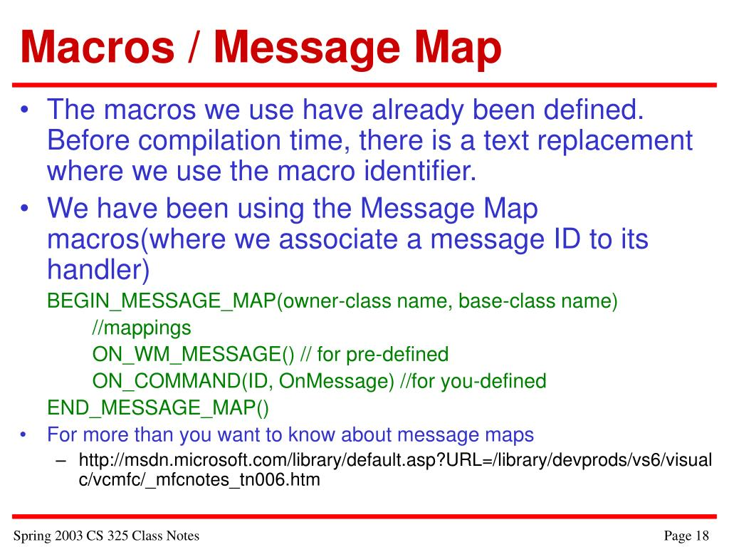 Macros / Message Map