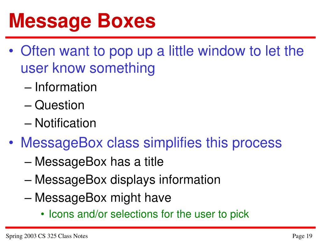 Message Boxes