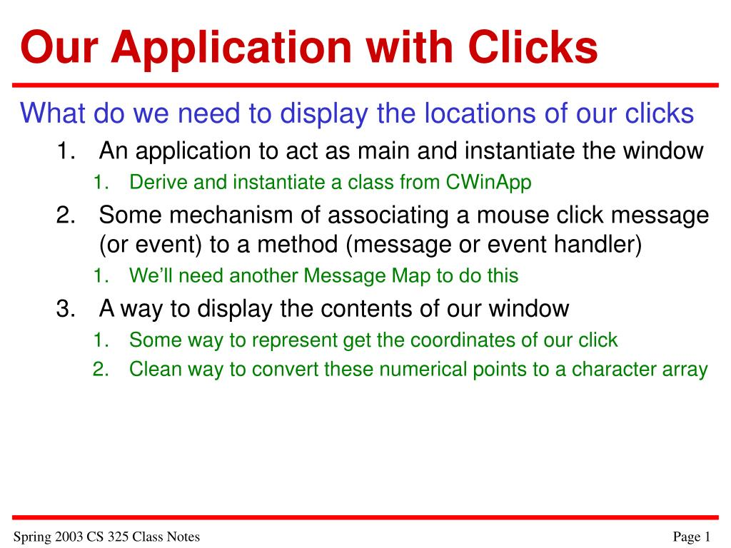 our application with clicks l.