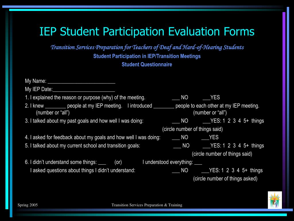 IEP Student Participation Evaluation Forms