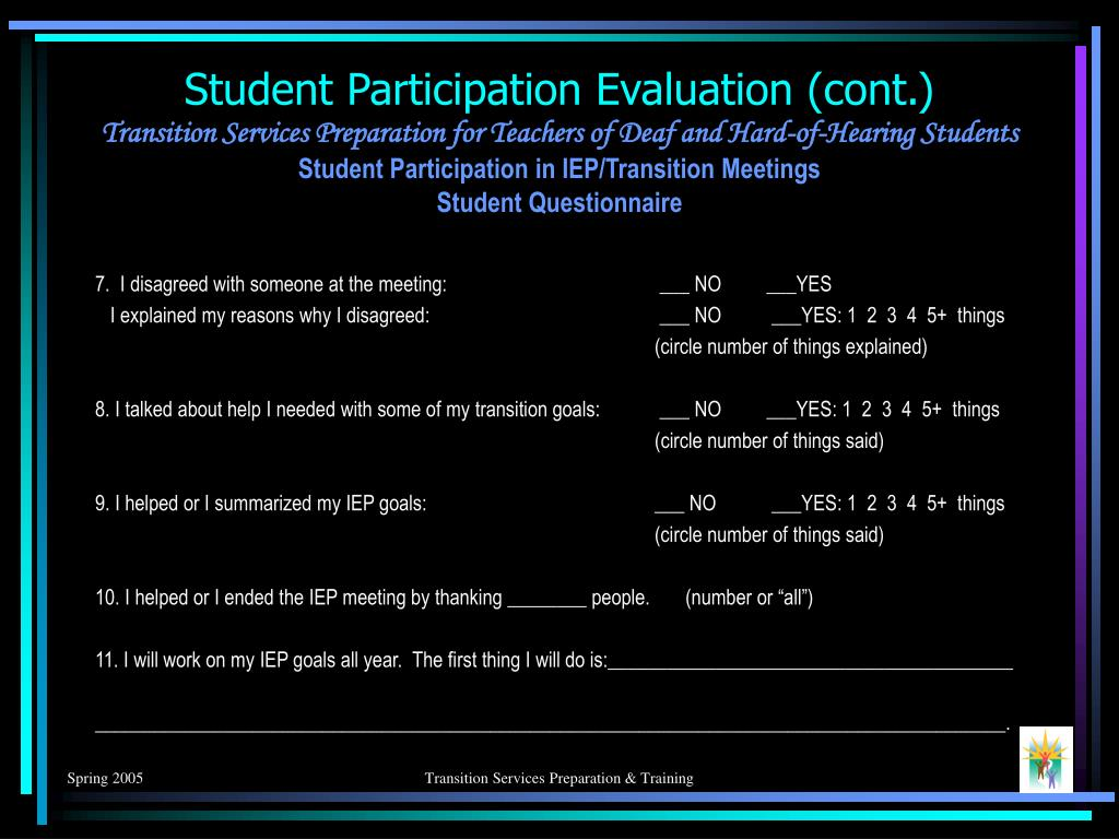Student Participation Evaluation (cont.)