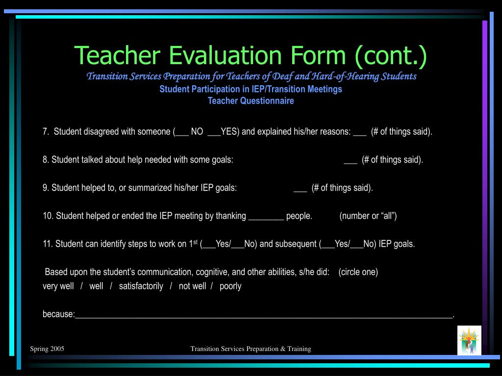 Teacher Evaluation Form (cont.)