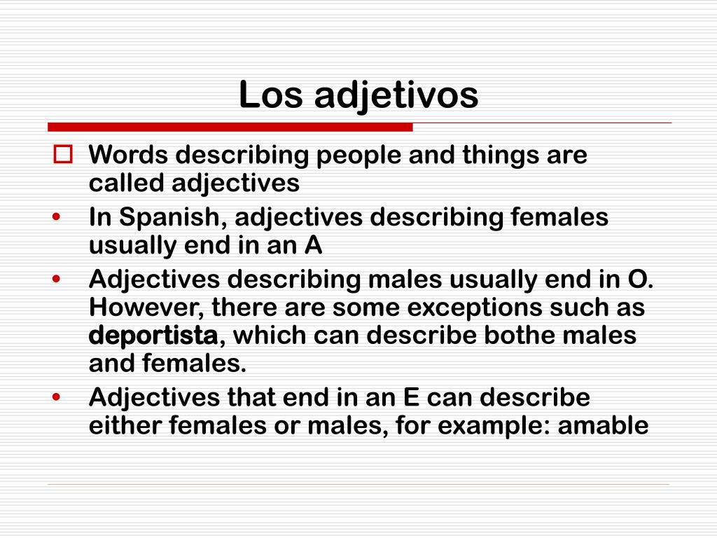 Los adjetivos