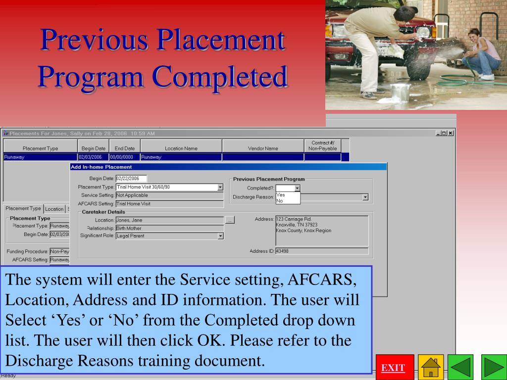 Previous Placement Program Completed