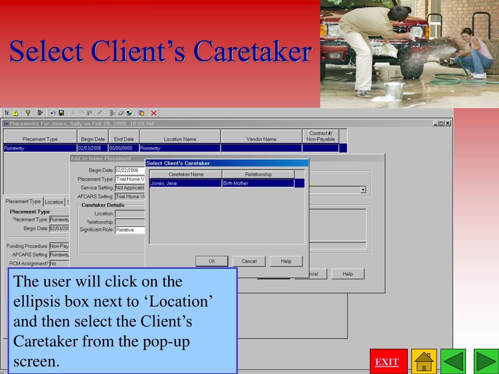 Select Client's Caretaker